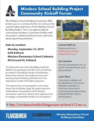 Mindess School Building Project Community Kickoff Meeting on Monday, September 23, 2019 from 6pm-8pm in the Mindess School Cafeteria.