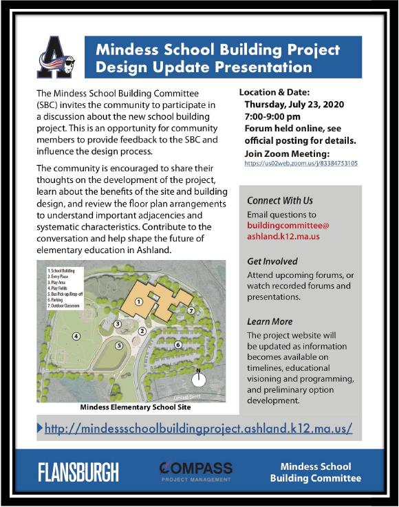 MESBP Design Update Presentation via Zoom on Thursday, July 23rd, 2020 at 7:00pm.  Call 508-881-0150 for more information.